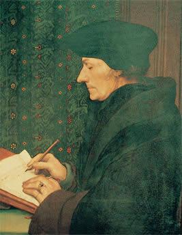 Erasmo escribiendo, de Hans Holbein el Joven. París, Museo del Louvre.
