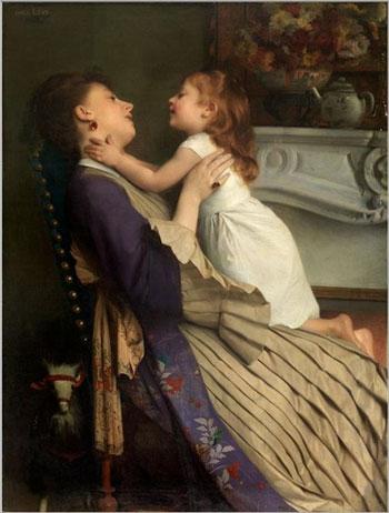 Madre e hija. Óleo de Émile Lévy, 1826-1890.