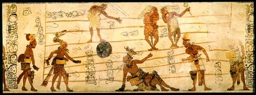 Mural maya (fragmento). El juego de pelota.
