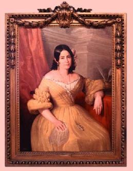Retrato de Doña Gertrudis Gómez de. Avellaneda (1840), óleo sobre tela (125,4 x 94,6 cm) del pintor sevillano Antonio María Esquivel Suárez de Urbina.