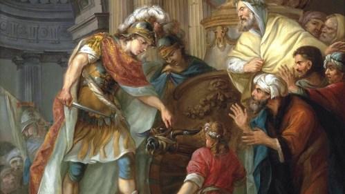 Alejandro cortando el nudo gordiano, según un pintor francés anónimo del siglo XVIII
